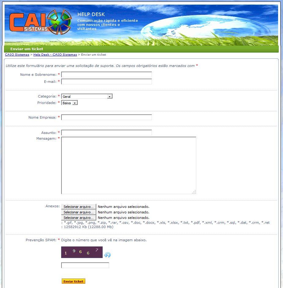 Enviar Ticket Suporte
